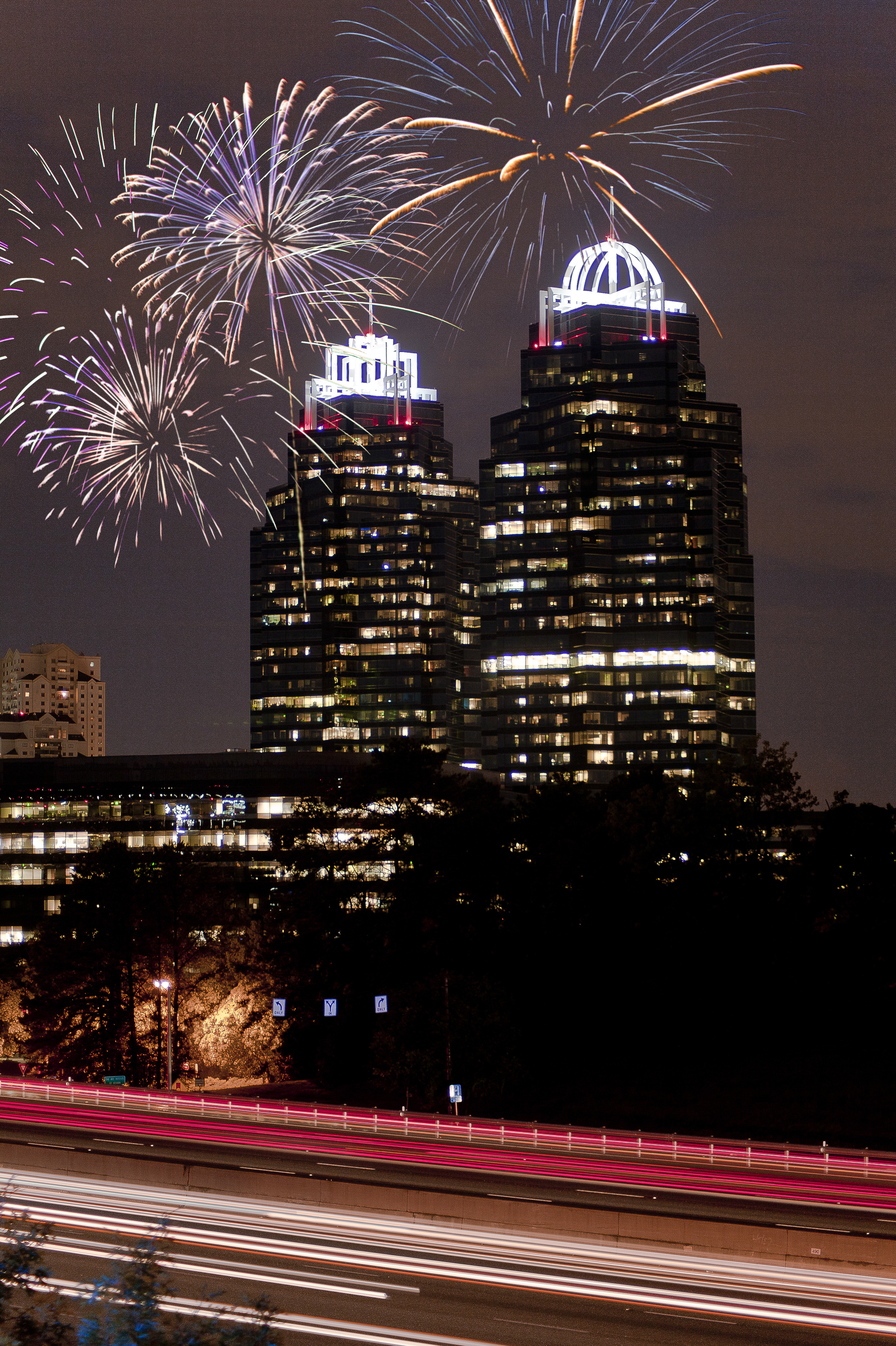King and queen buildings wfireworks photo cred city of sandy springs