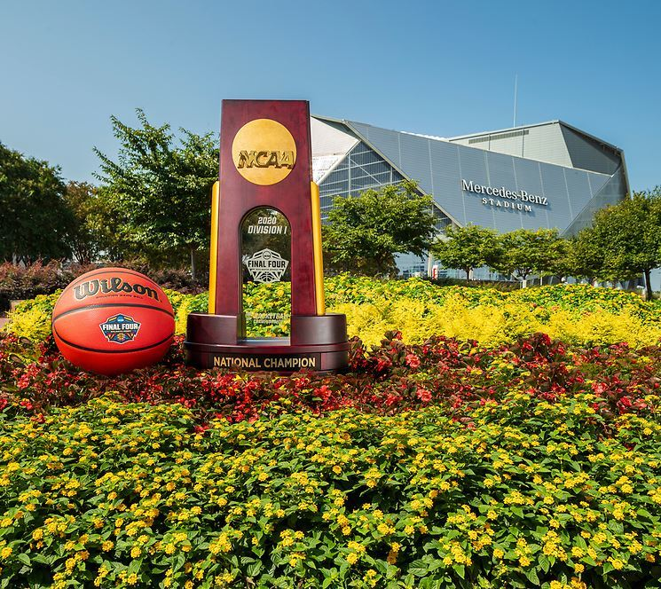 Ncaa final four trophy mercedes benz stadium photo credit atlanta basketball host committee and abell images