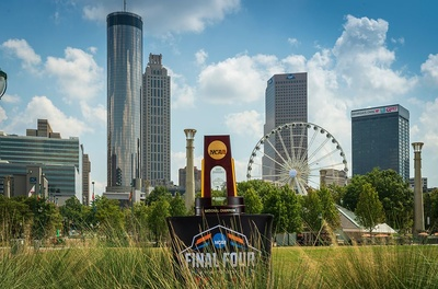 Ncaa final four trophy centennial olympic park photo credit atlanta basketball host committee and abell images